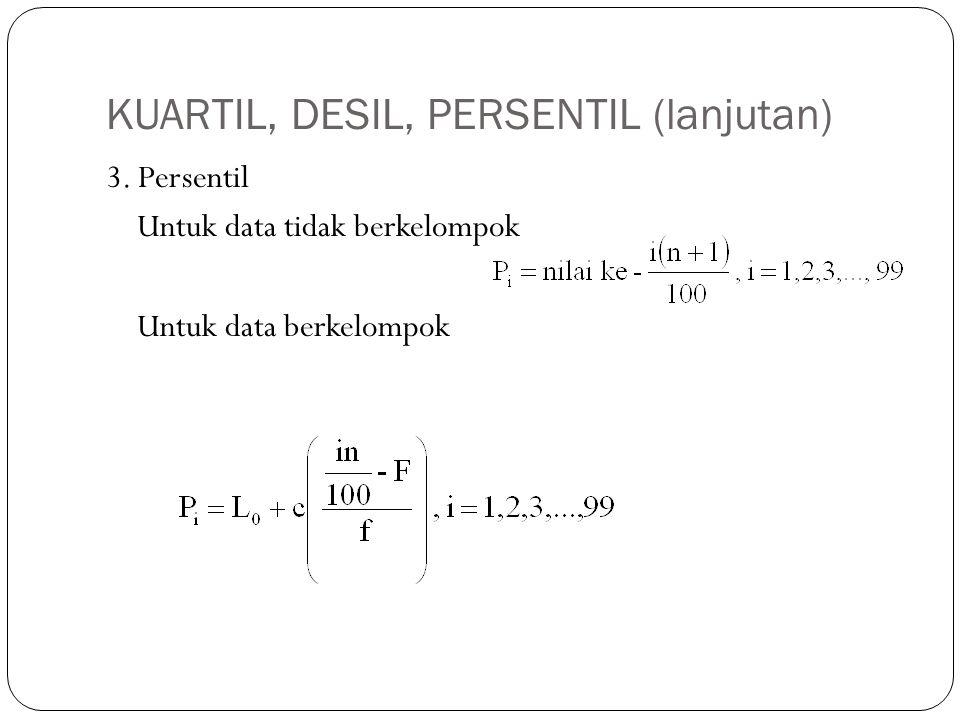 KUARTIL, DESIL, PERSENTIL (lanjutan) 3. Persentil Untuk data tidak berkelompok Untuk data berkelompok