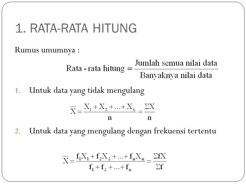 RATA-RATA HITUNG (lanjutan) 1.