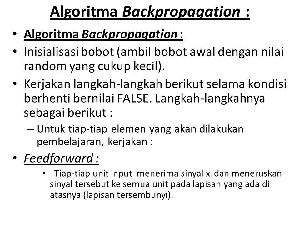 Algoritma Backpropagation : Inisialisasi bobot (ambil bobot awal dengan nilai random yang cukup kecil). Kerjakan langkah-langkah berikut selama kondis