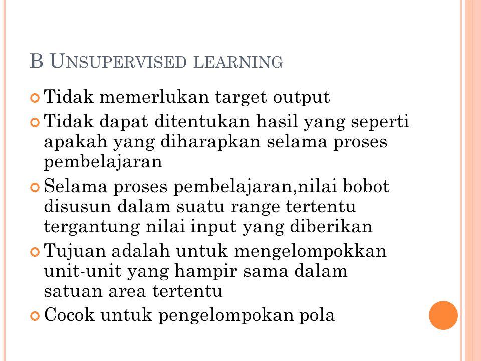 B U NSUPERVISED LEARNING Tidak memerlukan target output Tidak dapat ditentukan hasil yang seperti apakah yang diharapkan selama proses pembelajaran Se