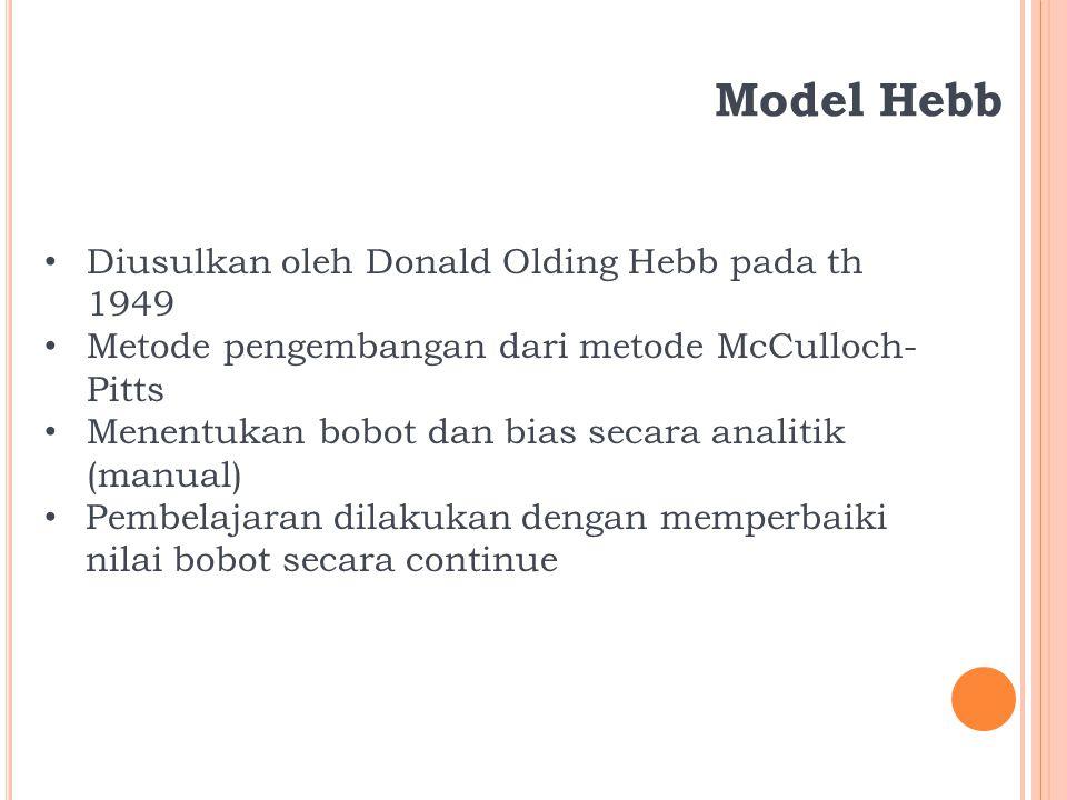 Model Hebb Diusulkan oleh Donald Olding Hebb pada th 1949 Metode pengembangan dari metode McCulloch- Pitts Menentukan bobot dan bias secara analitik (manual) Pembelajaran dilakukan dengan memperbaiki nilai bobot secara continue