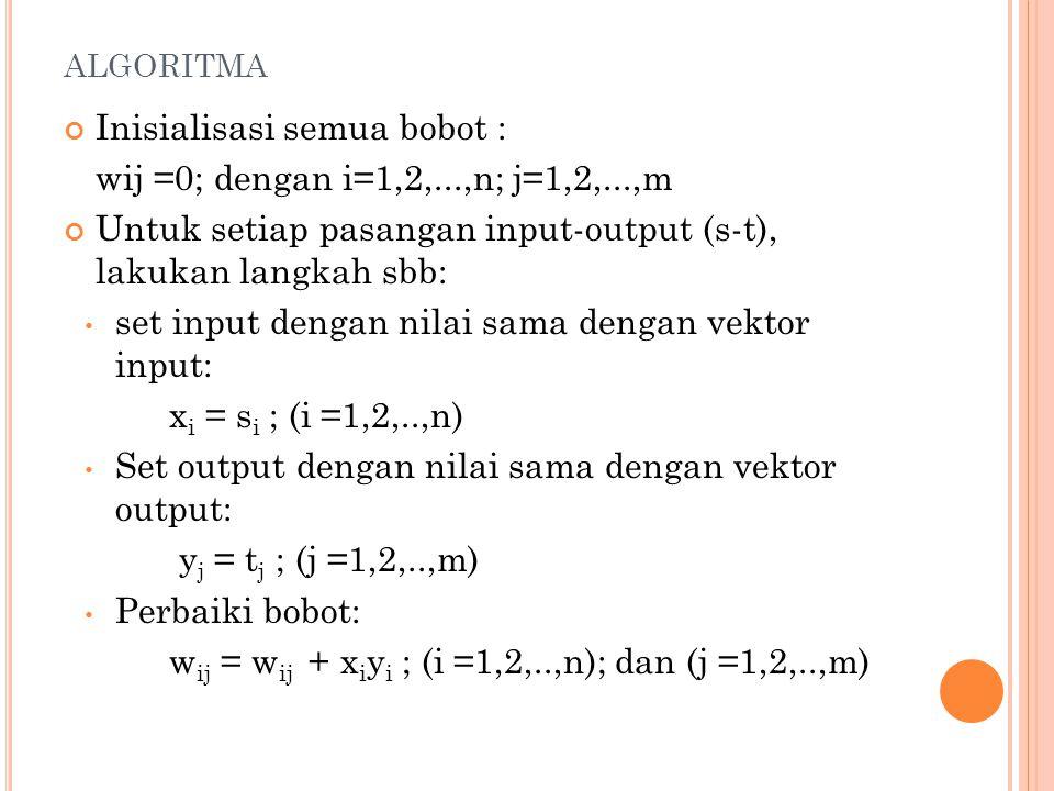ALGORITMA Inisialisasi semua bobot : wij =0; dengan i=1,2,...,n; j=1,2,...,m Untuk setiap pasangan input-output (s-t), lakukan langkah sbb: set input