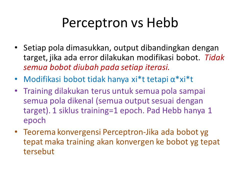 Perceptron vs Hebb Setiap pola dimasukkan, output dibandingkan dengan target, jika ada error dilakukan modifikasi bobot. Tidak semua bobot diubah pada