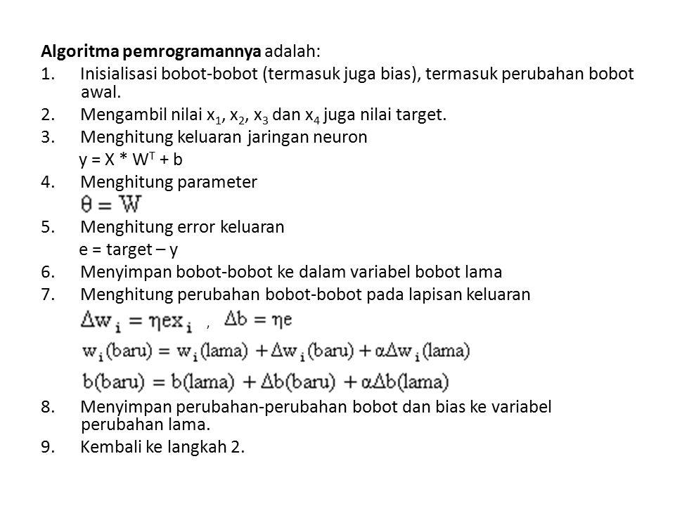 Algoritma pemrogramannya adalah: 1. Inisialisasi bobot-bobot (termasuk juga bias), termasuk perubahan bobot awal. 2. Mengambil nilai x 1, x 2, x 3 dan