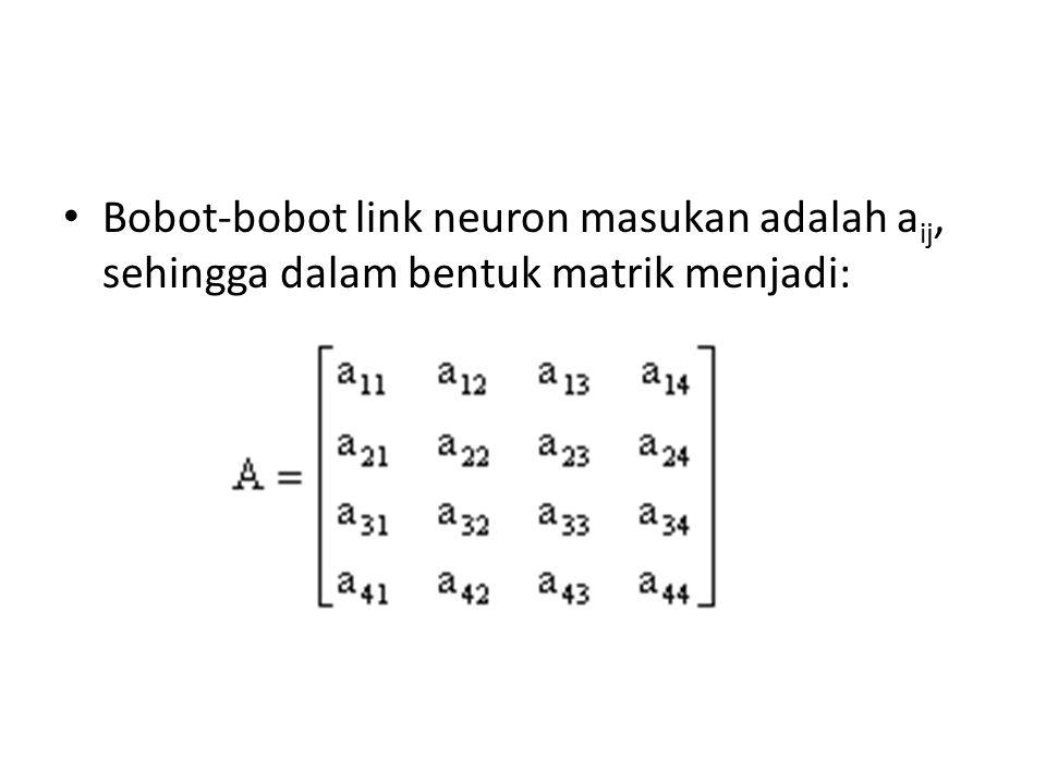 Bobot-bobot link neuron masukan adalah a ij, sehingga dalam bentuk matrik menjadi: