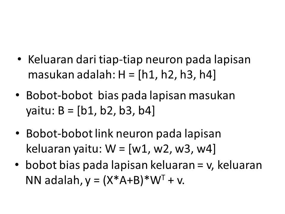 Keluaran dari tiap-tiap neuron pada lapisan masukan adalah: H = [h1, h2, h3, h4] Bobot-bobot bias pada lapisan masukan yaitu: B = [b1, b2, b3, b4] Bobot-bobot link neuron pada lapisan keluaran yaitu: W = [w1, w2, w3, w4] bobot bias pada lapisan keluaran = v, keluaran NN adalah, y = (X*A+B)*W T + v.