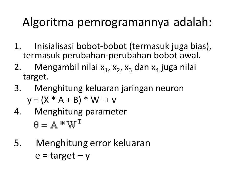 Algoritma pemrogramannya adalah: 1. Inisialisasi bobot-bobot (termasuk juga bias), termasuk perubahan-perubahan bobot awal. 2. Mengambil nilai x 1, x