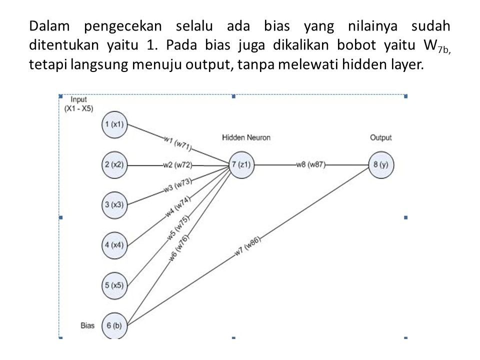 Dalam pengecekan selalu ada bias yang nilainya sudah ditentukan yaitu 1. Pada bias juga dikalikan bobot yaitu W 7b, tetapi langsung menuju output, tan