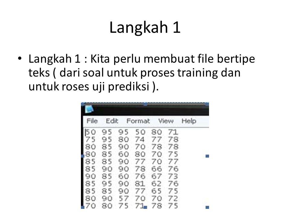 Langkah 1 Langkah 1 : Kita perlu membuat file bertipe teks ( dari soal untuk proses training dan untuk roses uji prediksi ).