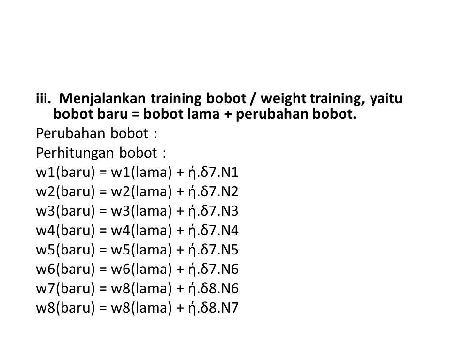 iii. Menjalankan training bobot / weight training, yaitu bobot baru = bobot lama + perubahan bobot. Perubahan bobot : Perhitungan bobot : w1(baru) = w