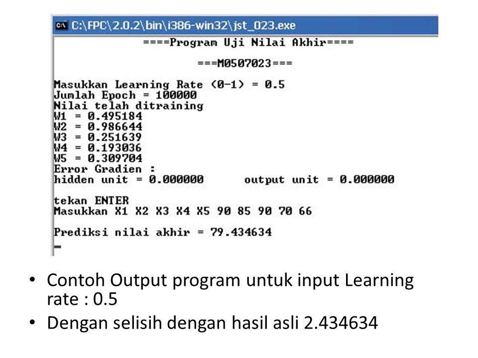 Contoh Output program untuk input Learning rate : 0.5 Dengan selisih dengan hasil asli 2.434634