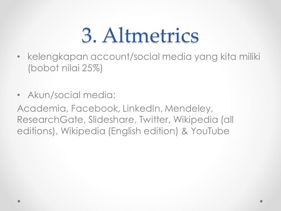 3. Altmetrics kelengkapan account/social media yang kita miliki (bobot nilai 25%) Akun/social media: Academia, Facebook, LinkedIn, Mendeley, ResearchG