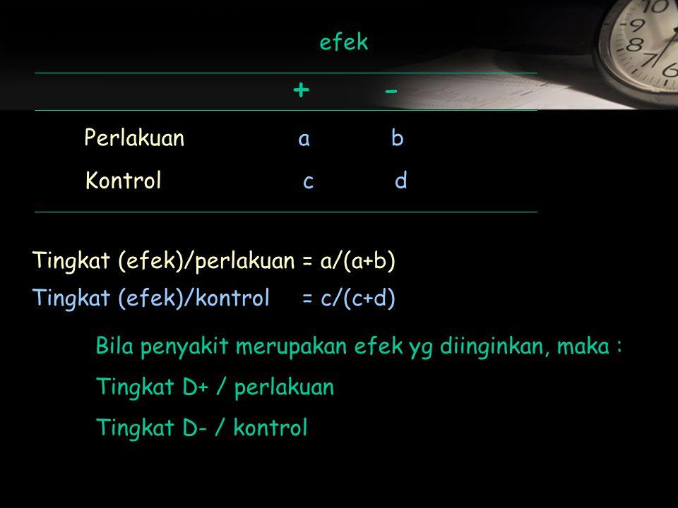 efek +- Perlakuan a b Kontrol c d Tingkat (efek)/perlakuan= a/(a+b) Tingkat (efek)/kontrol= c/(c+d) Bila penyakit merupakan efek yg diinginkan, maka : Tingkat D+ / perlakuan Tingkat D- / kontrol