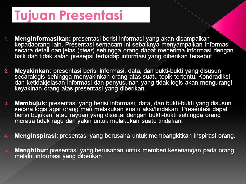 Tujuan Presentasi 1.