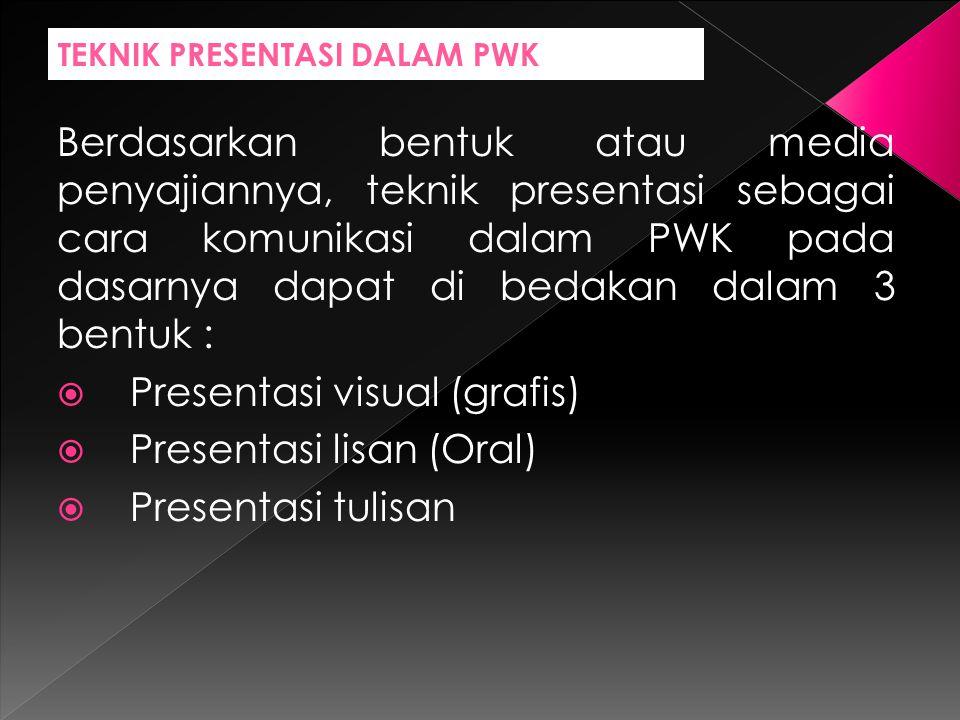 TEKNIK PRESENTASI DALAM PWK Berdasarkan bentuk atau media penyajiannya, teknik presentasi sebagai cara komunikasi dalam PWK pada dasarnya dapat di bedakan dalam 3 bentuk :  Presentasi visual (grafis)  Presentasi lisan (Oral)  Presentasi tulisan