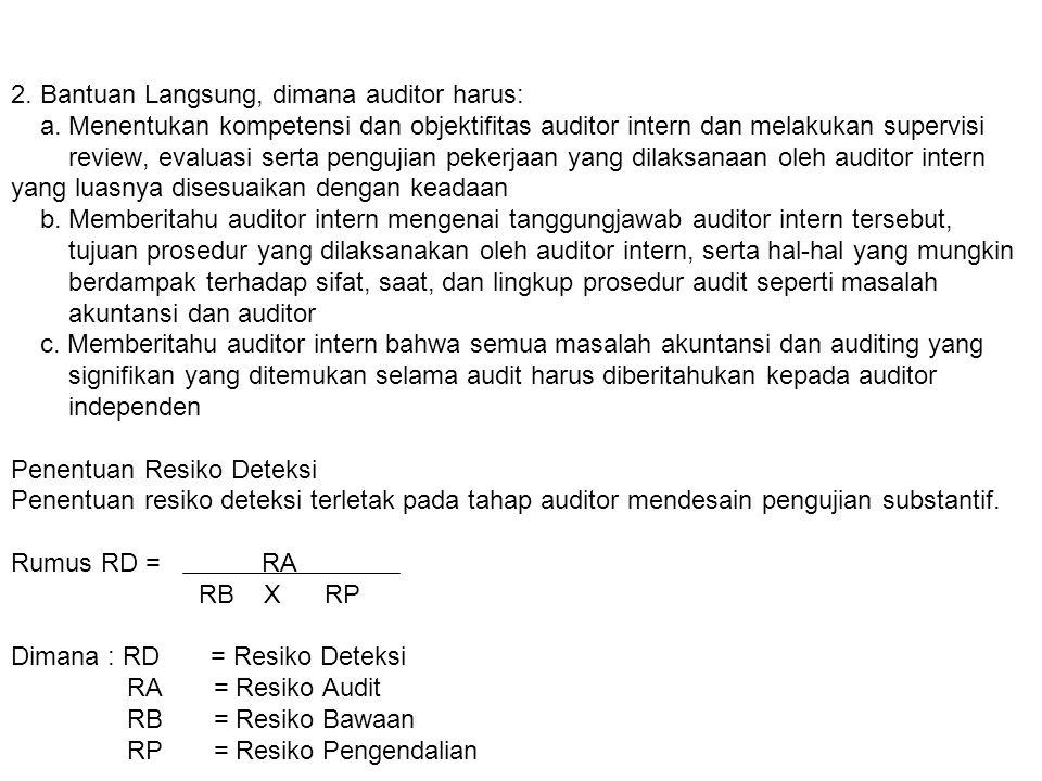 2. Bantuan Langsung, dimana auditor harus: a. Menentukan kompetensi dan objektifitas auditor intern dan melakukan supervisi review, evaluasi serta pen