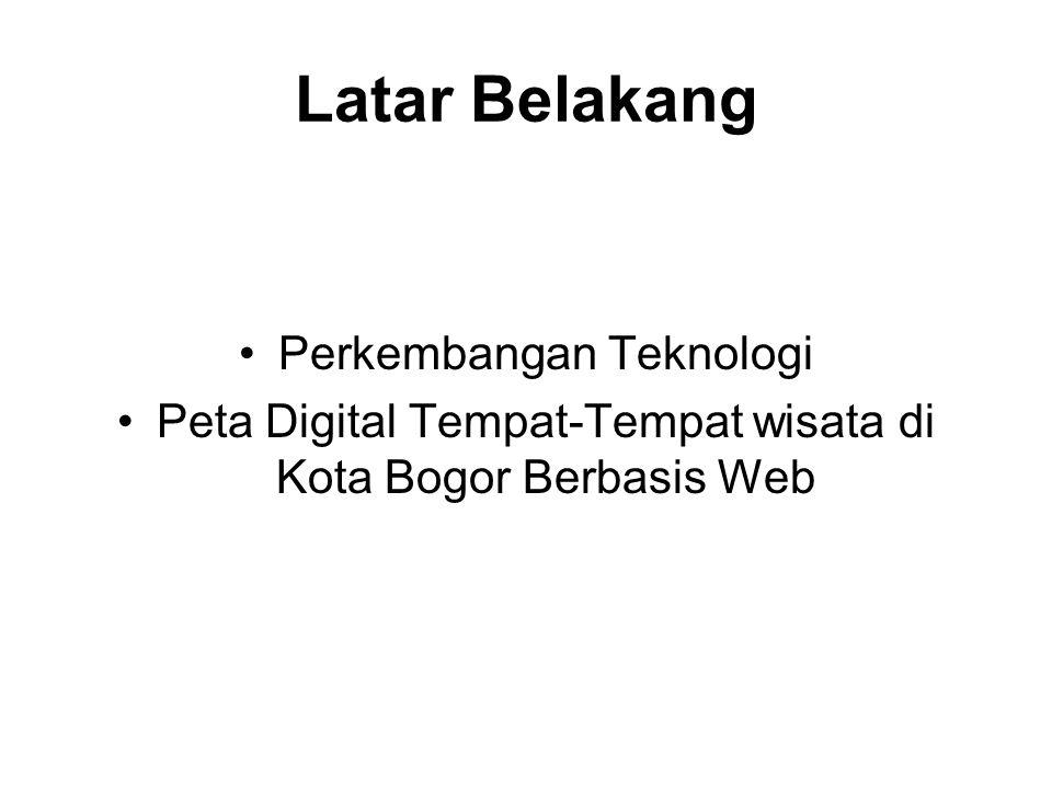 Latar Belakang Perkembangan Teknologi Peta Digital Tempat-Tempat wisata di Kota Bogor Berbasis Web