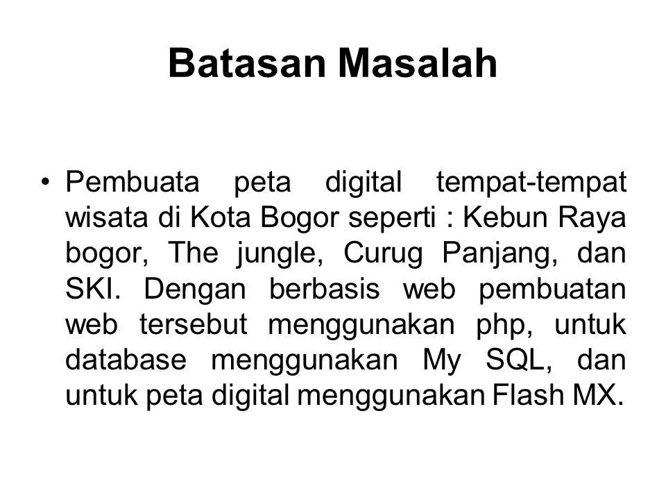 Batasan Masalah Pembuata peta digital tempat-tempat wisata di Kota Bogor seperti : Kebun Raya bogor, The jungle, Curug Panjang, dan SKI. Dengan berbas