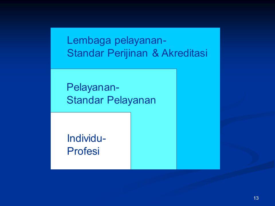Pelayanan- Standar Pelayanan Lembaga pelayanan- Standar Perijinan & Akreditasi Individu- Profesi 13