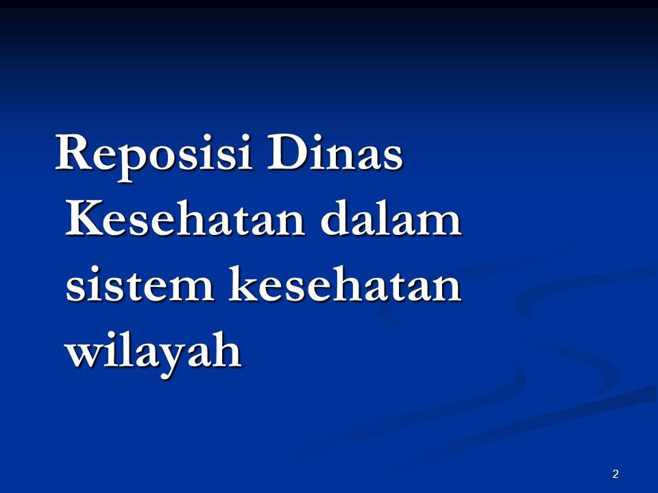 Reposisi Dinas Kesehatan dalam sistem kesehatan wilayah Reposisi Dinas Kesehatan dalam sistem kesehatan wilayah 2