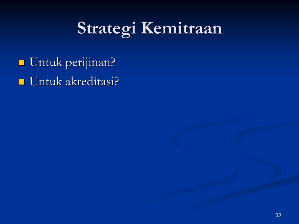 Strategi Kemitraan Untuk perijinan? Untuk perijinan? Untuk akreditasi? Untuk akreditasi? 32