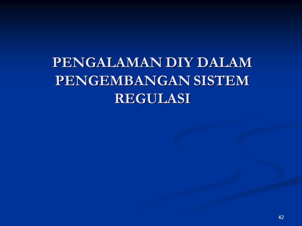PENGALAMAN DIY DALAM PENGEMBANGAN SISTEM REGULASI 42
