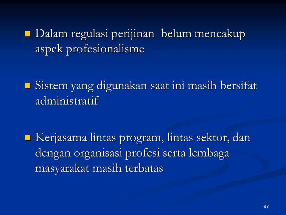 Dalam regulasi perijinan belum mencakup aspek profesionalisme Dalam regulasi perijinan belum mencakup aspek profesionalisme Sistem yang digunakan saat