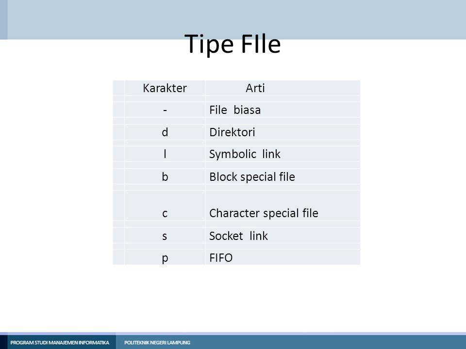 Tipe FIle KarakterArti -File biasa dDirektori lSymbolic link bBlock special file cCharacter special file sSocket link pFIFO