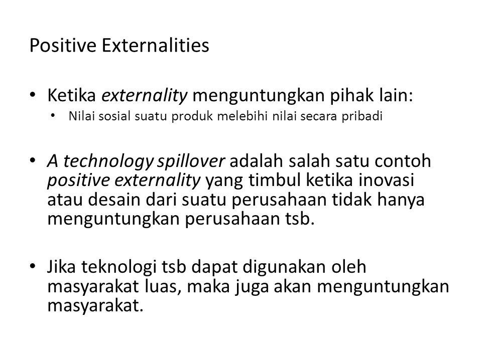 Positive Externalities Ketika externality menguntungkan pihak lain: Nilai sosial suatu produk melebihi nilai secara pribadi A technology spillover ada
