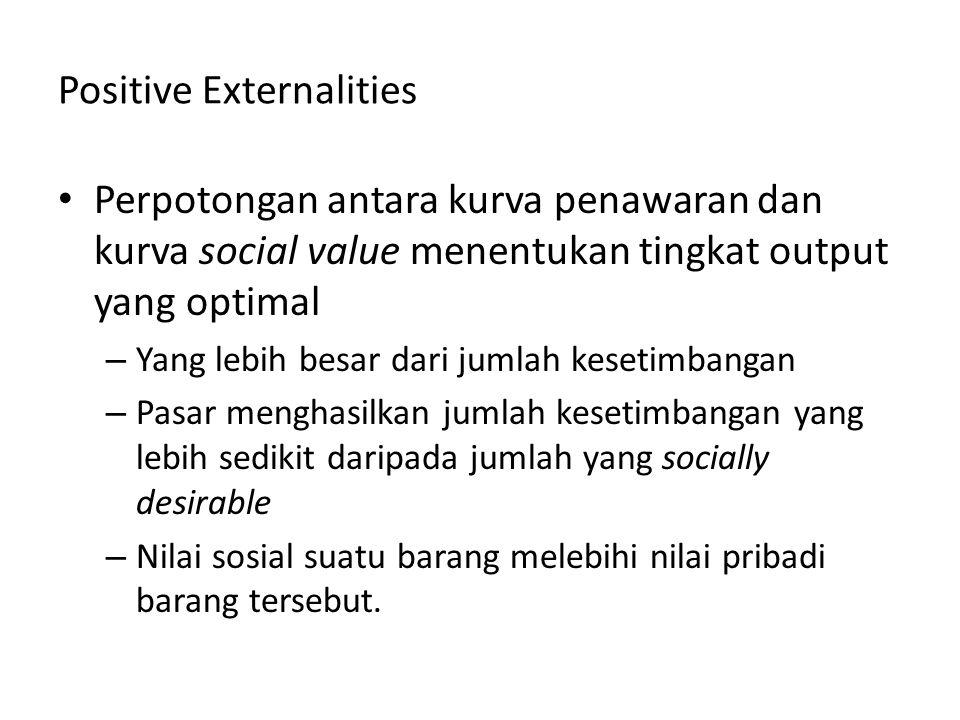 Positive Externalities Perpotongan antara kurva penawaran dan kurva social value menentukan tingkat output yang optimal – Yang lebih besar dari jumlah