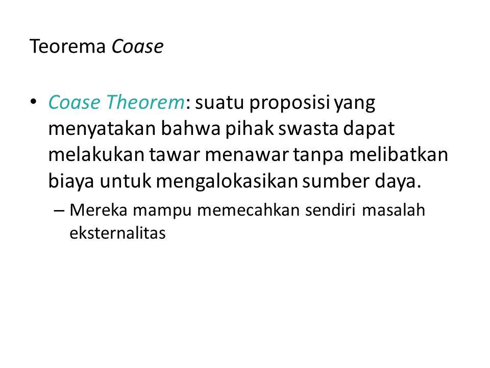 Teorema Coase Coase Theorem: suatu proposisi yang menyatakan bahwa pihak swasta dapat melakukan tawar menawar tanpa melibatkan biaya untuk mengalokasi