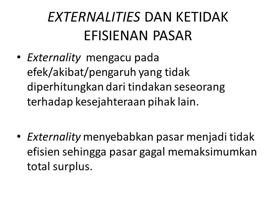 EXTERNALITIES DAN KETIDAK EFISIENAN PASAR Externality mengacu pada efek/akibat/pengaruh yang tidak diperhitungkan dari tindakan seseorang terhadap kes