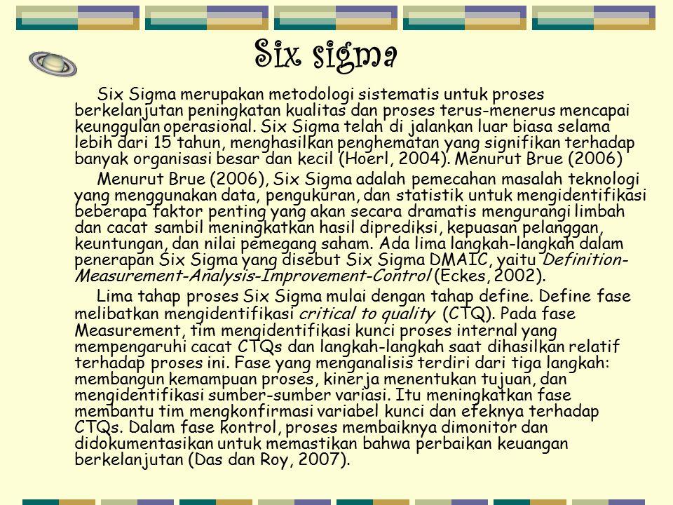 Six sigma Six Sigma merupakan metodologi sistematis untuk proses berkelanjutan peningkatan kualitas dan proses terus-menerus mencapai keunggulan opera