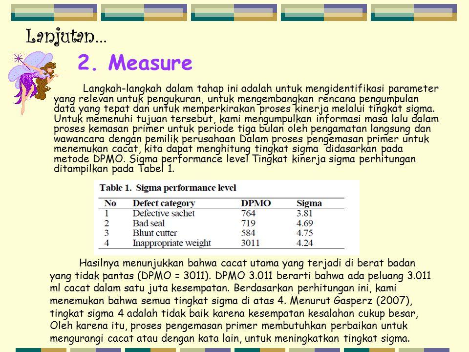 Lanjutan… Langkah-langkah dalam tahap ini adalah untuk mengidentifikasi parameter yang relevan untuk pengukuran, untuk mengembangkan rencana pengumpul