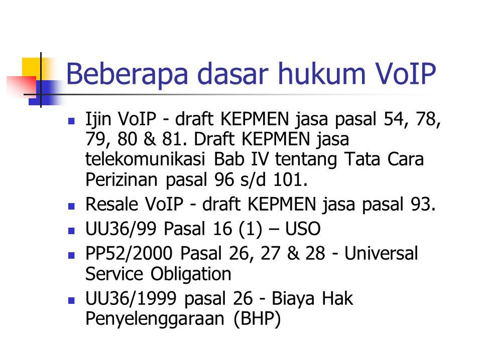 Beberapa dasar hukum VoIP Ijin VoIP - draft KEPMEN jasa pasal 54, 78, 79, 80 & 81.