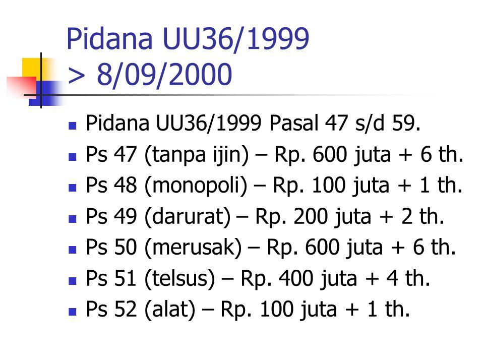 Pidana UU36/1999 > 8/09/2000 Pidana UU36/1999 Pasal 47 s/d 59.