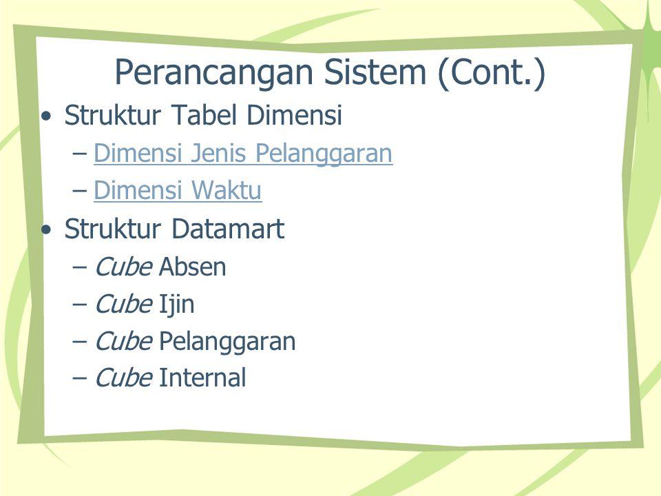 Perancangan Sistem (Cont.) Struktur Tabel Dimensi –Dimensi Jenis PelanggaranDimensi Jenis Pelanggaran –Dimensi WaktuDimensi Waktu Struktur Datamart –C