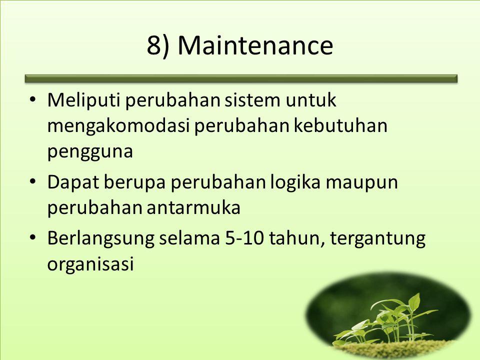 8) Maintenance Meliputi perubahan sistem untuk mengakomodasi perubahan kebutuhan pengguna Dapat berupa perubahan logika maupun perubahan antarmuka Ber