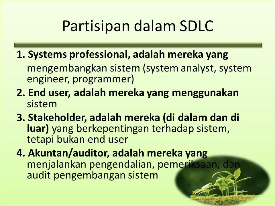 Partisipan dalam SDLC 1. Systems professional, adalah mereka yang mengembangkan sistem (system analyst, system engineer, programmer) 2. End user, adal