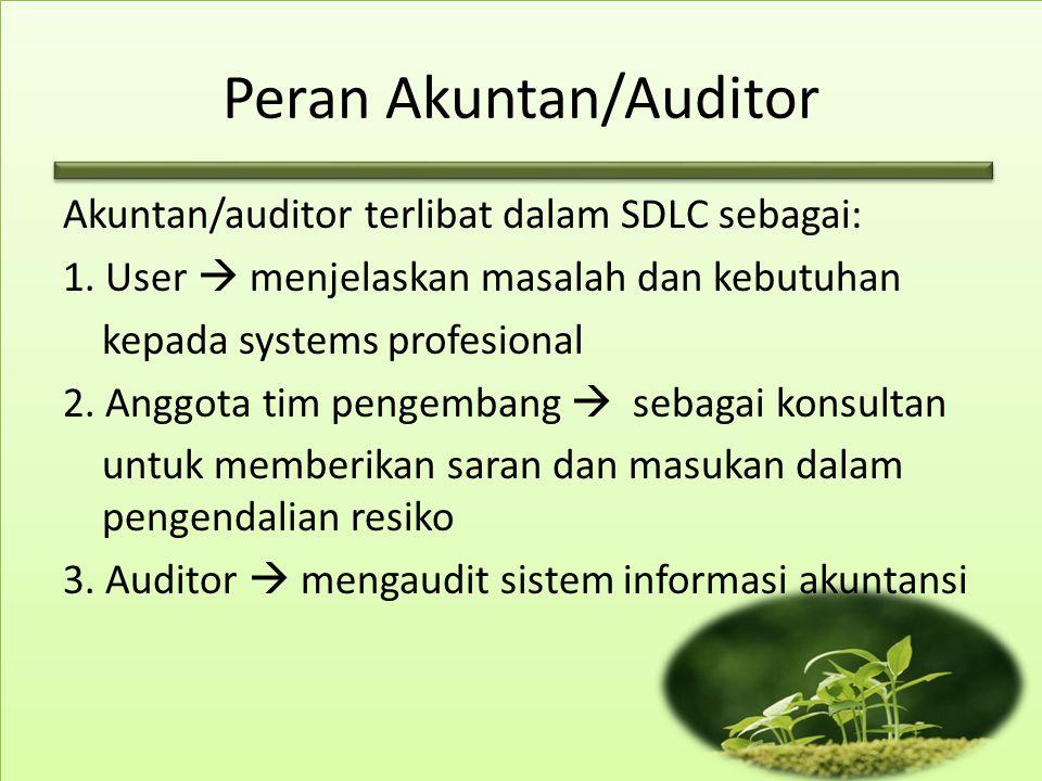 Peran Akuntan/Auditor Akuntan/auditor terlibat dalam SDLC sebagai: 1. User  menjelaskan masalah dan kebutuhan kepada systems profesional 2. Anggota t