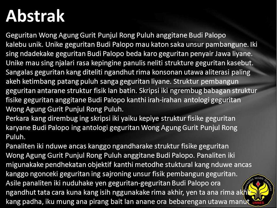 Abstrak Geguritan Wong Agung Gurit Punjul Rong Puluh anggitane Budi Palopo kalebu unik.