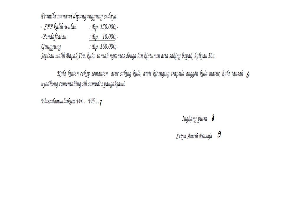 KATRANGAN 1.Titimangsa ( tanggal ) 2.Satata basa 3.Adangiyah( salam pambuka ) 4.Pambuka ( bebuka ) 5.Isi (surasa basa) 6.Panutup ( wasana basa ) 7.Salam panutup 8.Peprenahan 9.Asma terang ( jenenge sing nulis )
