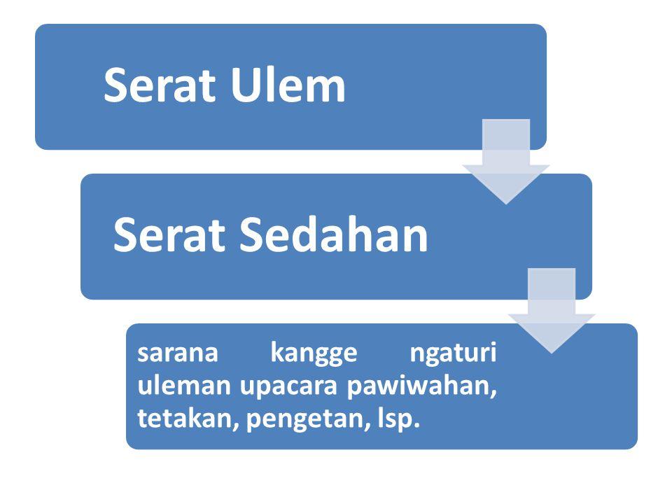 Serat UlemSerat Sedahan sarana kangge ngaturi uleman upacara pawiwahan, tetakan, pengetan, lsp.