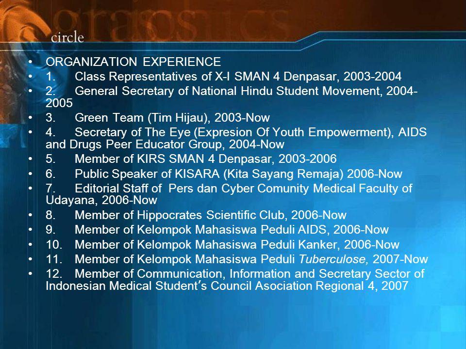 ORGANIZATION EXPERIENCE 1.Class Representatives of X-I SMAN 4 Denpasar, 2003-2004 2.