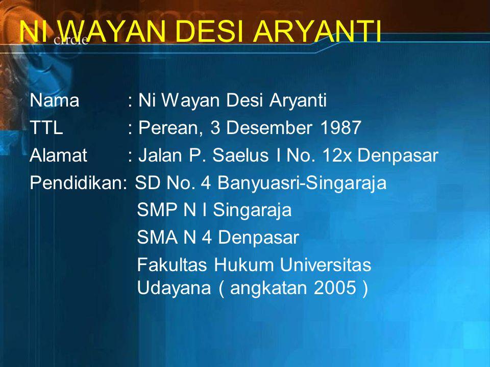 NI WAYAN DESI ARYANTI Nama: Ni Wayan Desi Aryanti TTL: Perean, 3 Desember 1987 Alamat : Jalan P.
