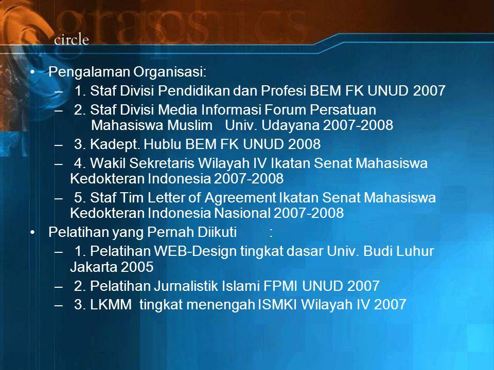 Pengalaman Organisasi: – 1.Staf Divisi Pendidikan dan Profesi BEM FK UNUD 2007 – 2.
