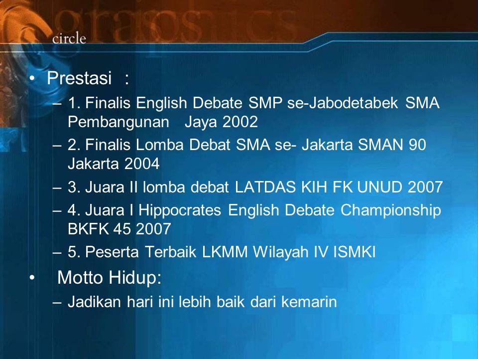 Prestasi: –1.Finalis English Debate SMP se-Jabodetabek SMA Pembangunan Jaya 2002 –2.