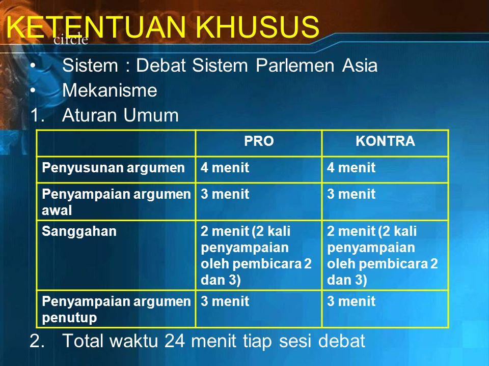 KETENTUAN KHUSUS Sistem : Debat Sistem Parlemen Asia Mekanisme 1.Aturan Umum 2.Total waktu 24 menit tiap sesi debat PROKONTRA Penyusunan argumen4 menit Penyampaian argumen awal 3 menit Sanggahan2 menit (2 kali penyampaian oleh pembicara 2 dan 3) Penyampaian argumen penutup 3 menit