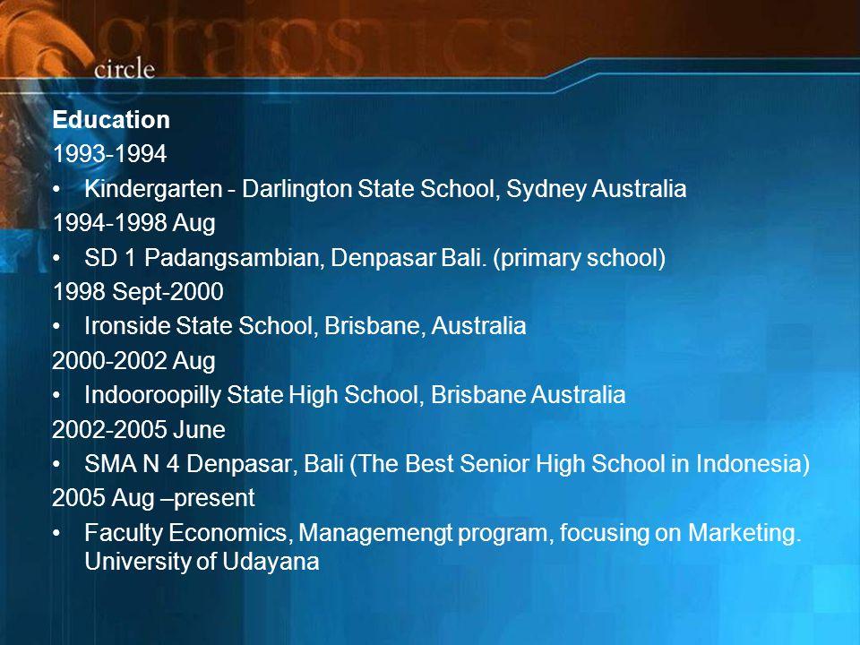 Education 1993-1994 Kindergarten - Darlington State School, Sydney Australia 1994-1998 Aug SD 1 Padangsambian, Denpasar Bali.