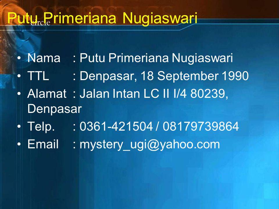 Putu Primeriana Nugiaswari Nama: Putu Primeriana Nugiaswari TTL: Denpasar, 18 September 1990 Alamat: Jalan Intan LC II I/4 80239, Denpasar Telp.: 0361-421504 / 08179739864 Email: mystery_ugi@yahoo.com